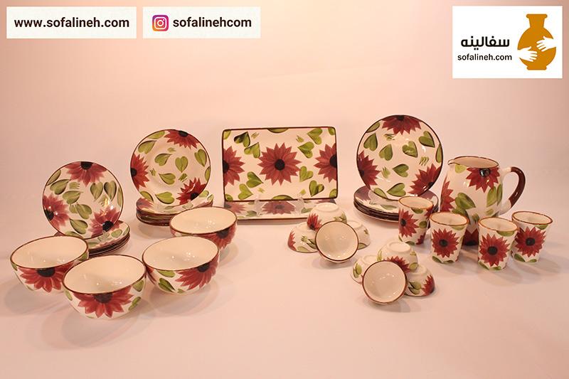 سرویس کامل ظروف سرامیکی چهار نفره گلدار بنفش