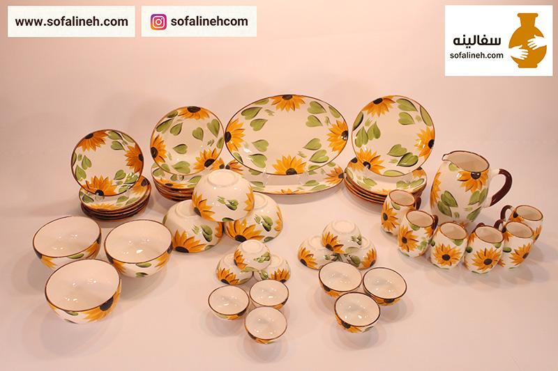 ست کامل ظروف سرامیکی شش نفره گلدار زرد با دیس بیضی