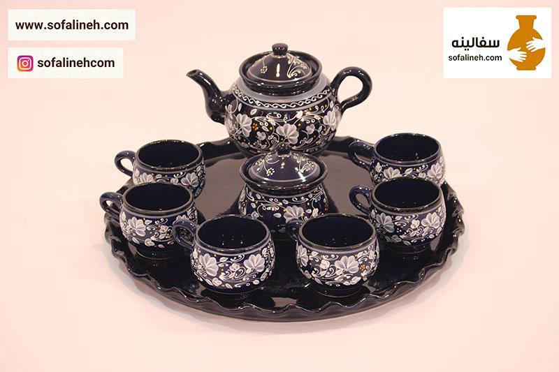 ست چای خوری سورمه ای نقاشی
