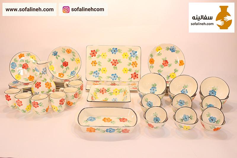 ست کامل ظروف سرامیکی شش نفره گلدار