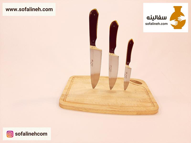 ست کامل چاقوی ناصر دسته زرشکی
