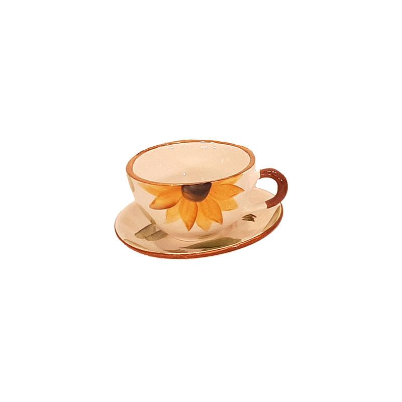 فنجان و نعلبکی گل آفتابگردان زرد