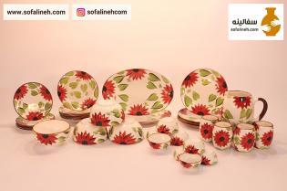 ست کامل ظروف سرامیکی چهار نفره گلدار قرمز