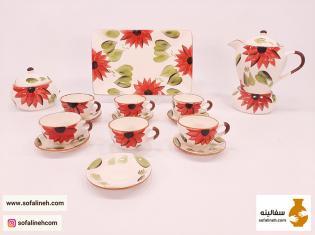 سرویس چایی خوری گل آفتابگردان قرمز