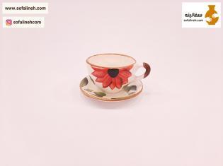 فنجان و نعلبکی گل آفتابگردان قرمز