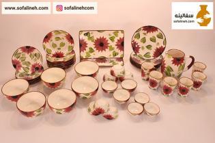 سرویس کامل ظروف سرامیکی گلدار بنفش شش نفره
