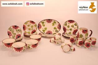 ست کامل ظروف سرامیکی چهار نفره گلدار بنفش