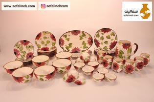 ست کامل ظروف سرامیکی شش نفره گلدار بنفش