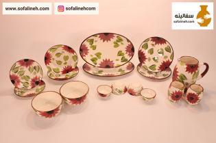 ست کامل ظروف سرامیکی گلدار بنفش دو نفره