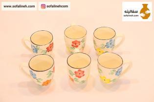ست لیوان سرامیکی گلدار