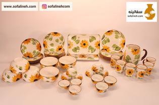 ست کامل ظروف سرامیکی شش نفره گلدار زرد